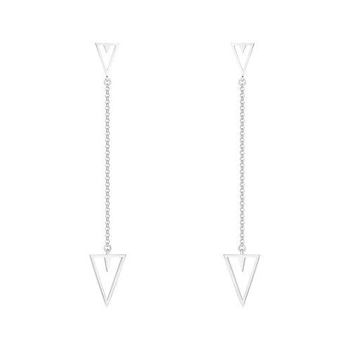 Длинные серьги цепочки с треугольниками