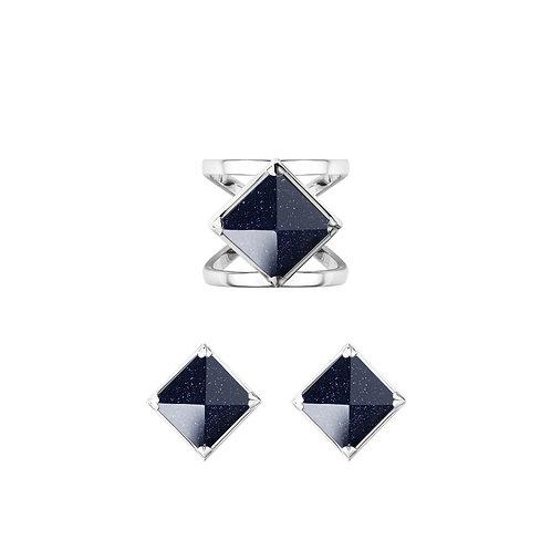 Комплект украшений - кольцо и серьги Meteorite
