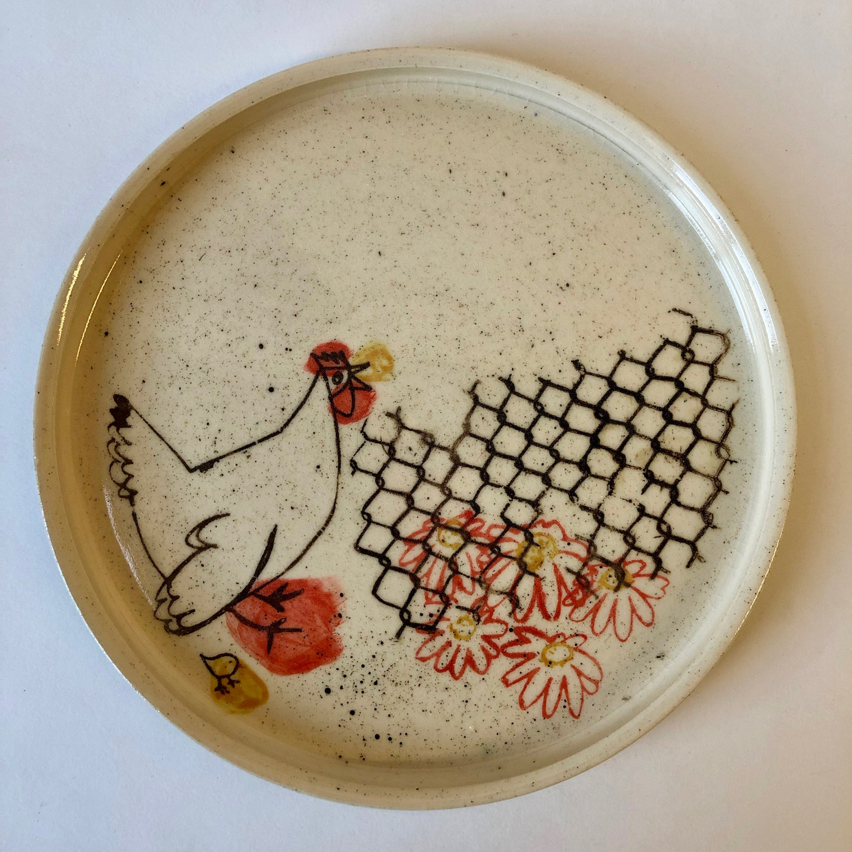 Hen and Chicks Plate