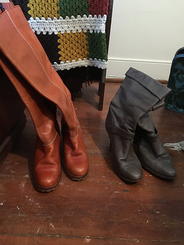 1970's golden brown knee height leather boots