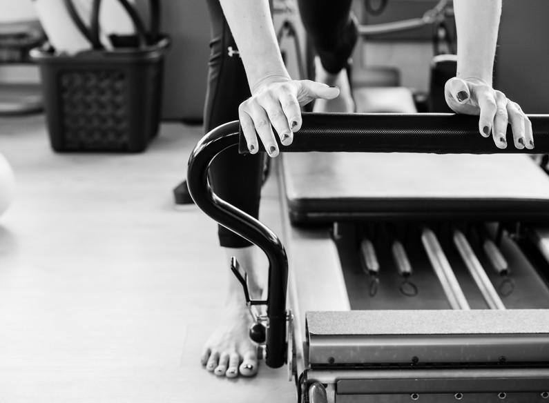 Pilates reformer exercise's detail in bl