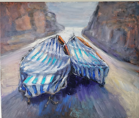 Oil painting of boats