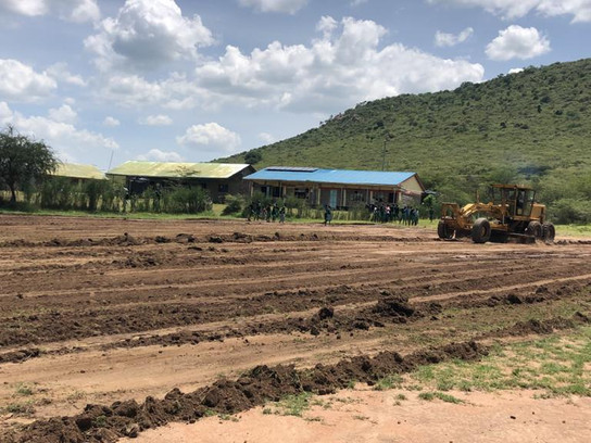 Start of football pitch construction at Ilkimatare Primary School