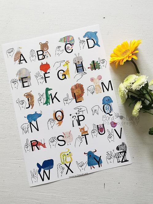 Kinder Fingeralphabet Poster A4