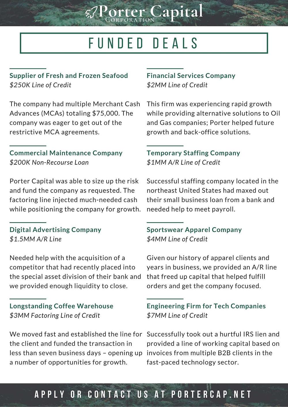 porter capital invoice factoring deals 2019 flyer