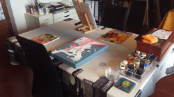 Some canvases at the Art Studio