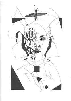 "B&W Drawing - ""Woman"""