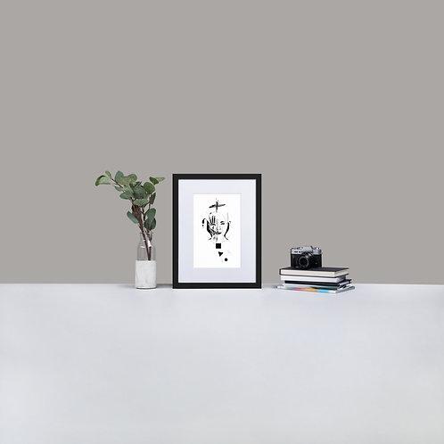 Matte Paper Framed Poster With Mat - Spider woman B&W design