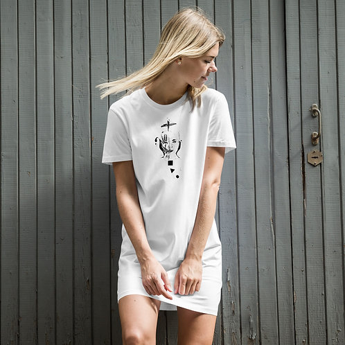 Organic cotton t-shirt dress - Spider woman B&W design