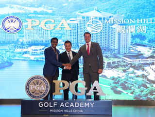 美國PGA職業高爾夫球協會 宣布與觀瀾湖集團達成多年合作協議 美國PGA職業高爾夫球協會旗下的高球學院 將首度在深圳和海南揭幕