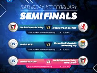 盛寶金融男子及畢馬威女子超級聯賽 Saxo Markets Men's Premiership and KPGM Women's Premiership 季後冠軍賽準決賽 2月1 日 (星期六) 三場