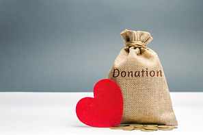 A money bag with the word Donation and a