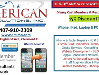 Disney Cast Members & Resort Guests receive 15% Discount on all phone repairs