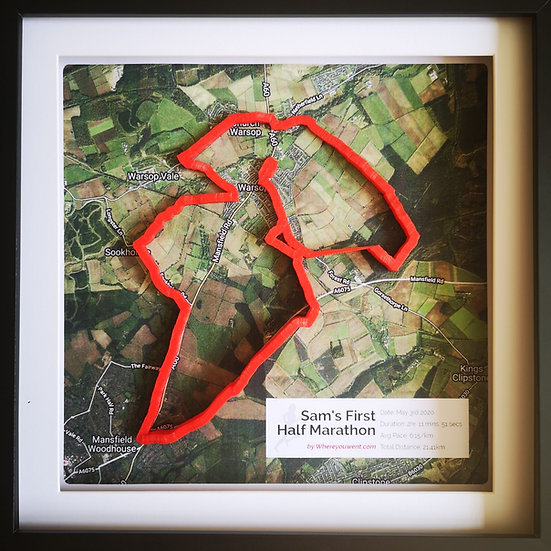 Framed Route with map background
