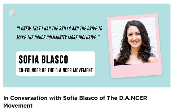 """Screenshot of page that reads """"In conversation with Sofia Blasco of the dancer movement"""""""