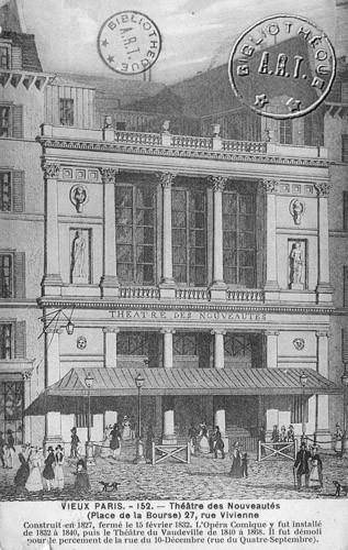 La façade du théâtre des Nouveautés, 27 rue Vivienne, face à la Bourse