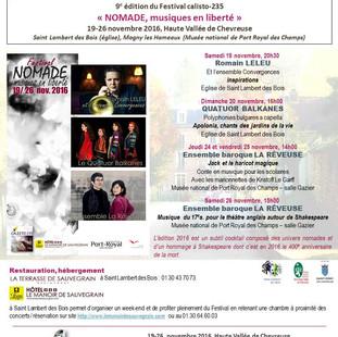 """FESTIVAL """"NOMADE, musiques en liberté"""" 2016 : ouverture de la billetterie le 5 sept. 2016"""