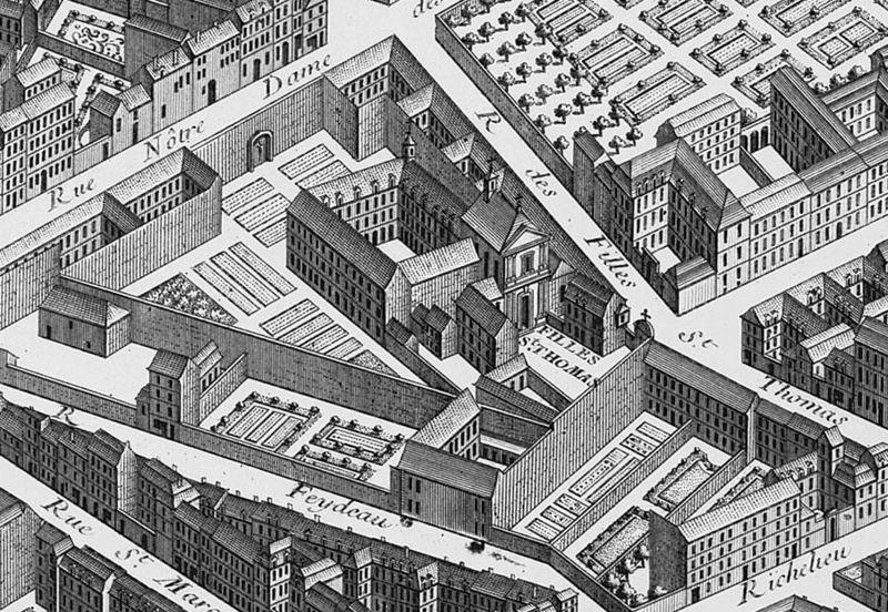 Le couvent des filles Saint Thomas / gravure du 18e siècle