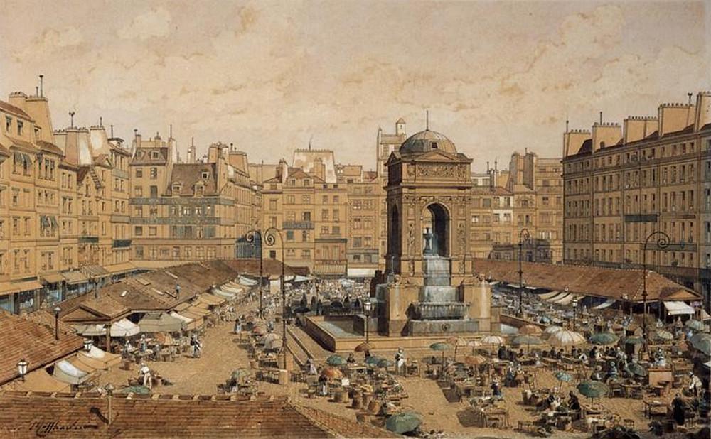 La « place du marché des Innocents » à l'emplacement du cimetière vers 1850 (Hoffbauer - fin xixe siècle)