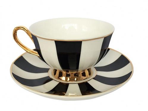 Stripy Teacup and Saucer - Black
