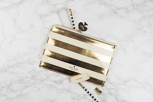 Kate Spade Pencil Pouch - Gold Stripe