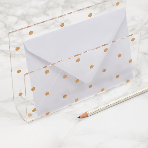 Acrylic Gold Dot Letter Holder