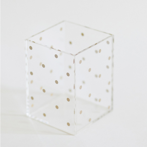 Acrylic Gold Dot Pencil Cup