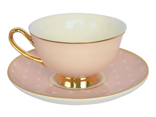 Spotty Teacup and Saucer - Pink