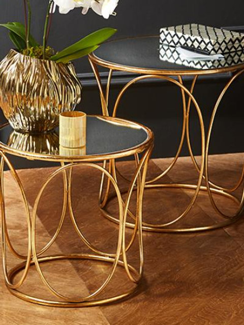 Gold Mirror Top Side Table