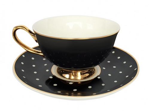 Spotty Teacup and Saucer - Black