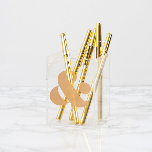 Acrylic Gold Ampersand Pencil Cup