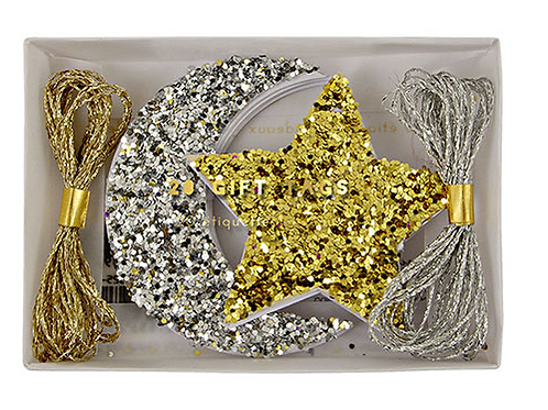 Glitter Moon and Star Gift Tags