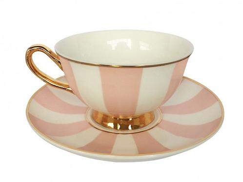 Stripy Teacup and Saucer - Pink