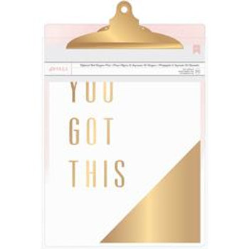 Clipboard with Gold Foil Print - Pink Watercolour