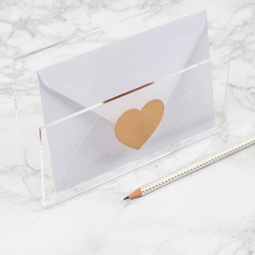 Acrylic Gold Heart Letter Holder