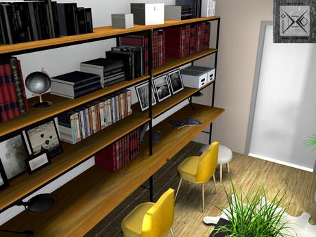 Vue 3D Bureau Bibliothèque