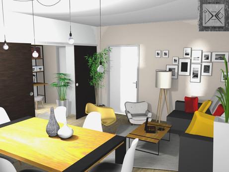 Vue 3D salle à manger salon
