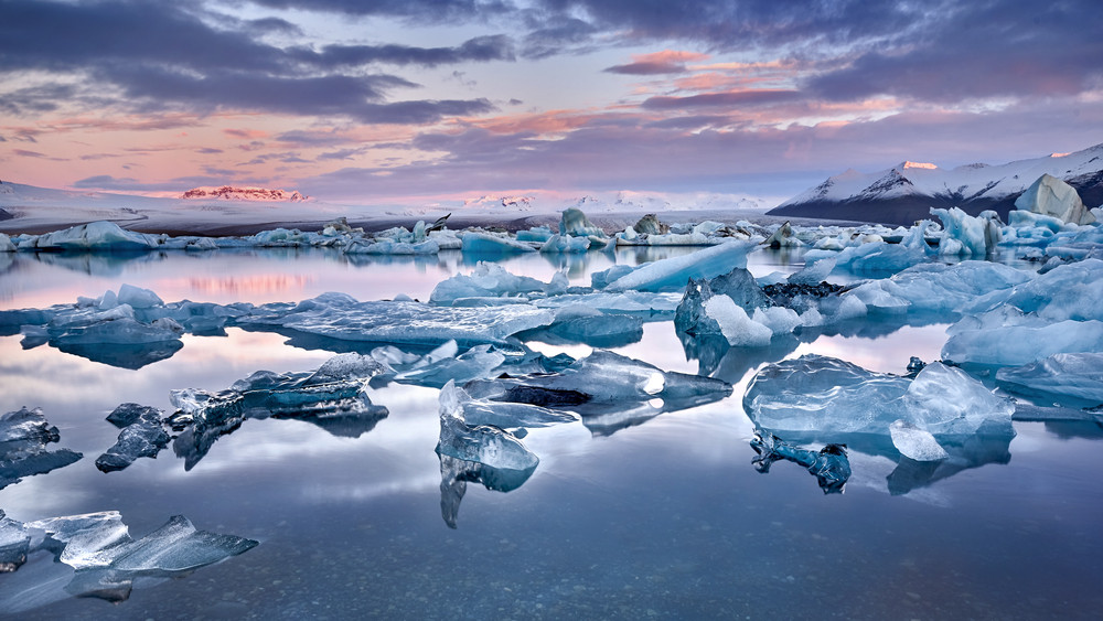Icebergs on a lagoon at one of the incredible glaciers of Iceland.