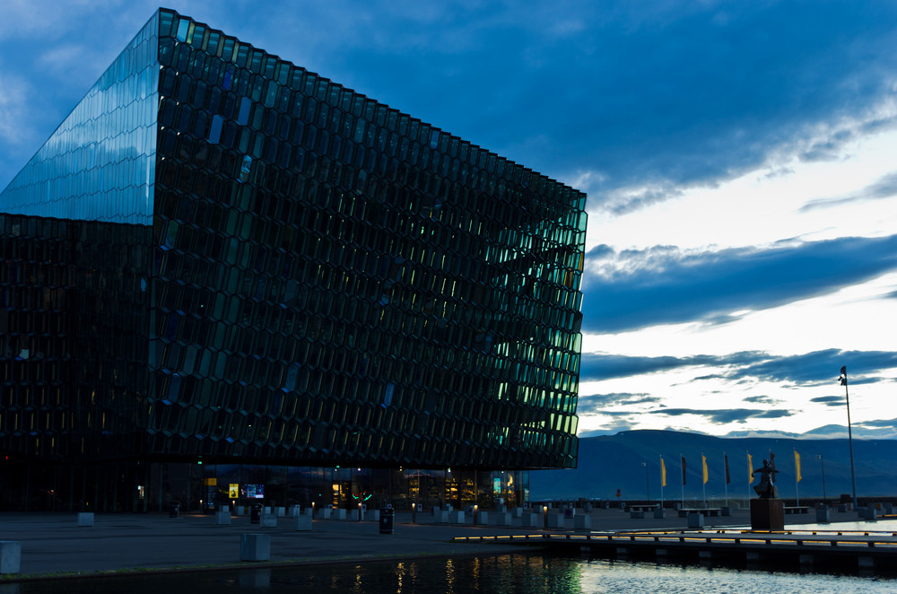 Harpa Concert Hall at dusk in Reykjavik Old Harbor