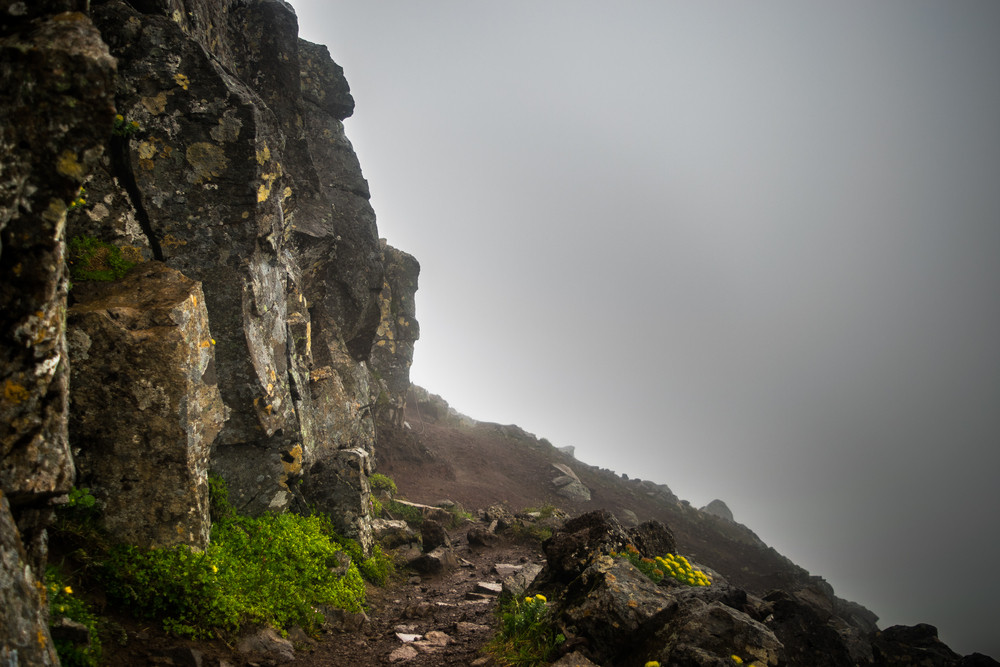 Cliff edge path on Mount Esja, Iceland.