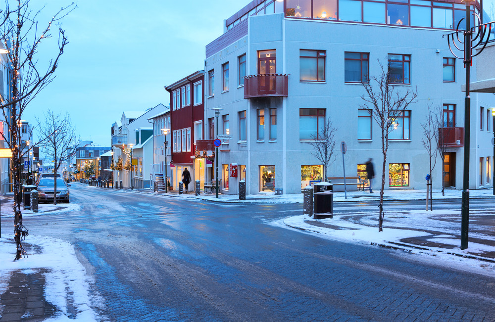 Reykjavik street view in winter. Snow and low light. Iceland Airwaves Festival November.