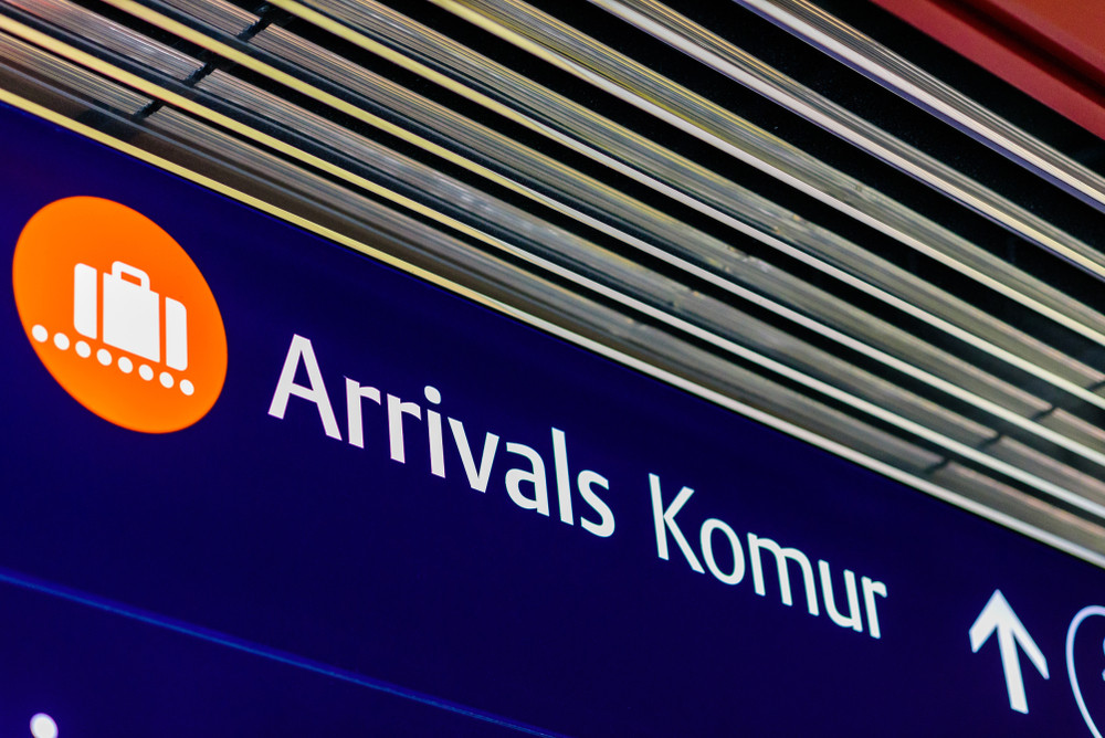 Arrivals sign at airport. Keflavik Shuttle Bus service, Iceland.