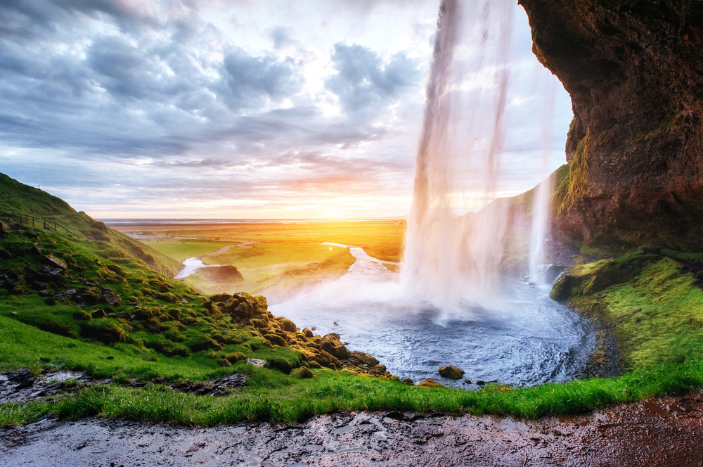 Seljalandsfoss Waterfall. Top tourist attractions in Iceland.