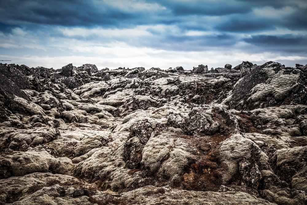 Bare rocky landscape. Okjokull Glacier Extinction