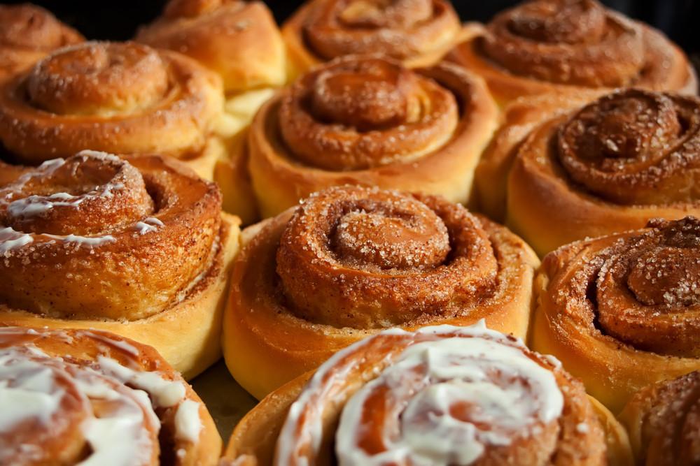 Close up of iced cinnamon buns. Höfði Mathöll Food Hall.