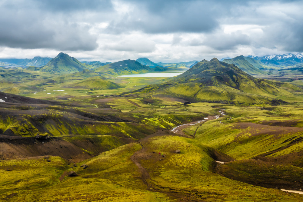 Summer view of the Iceland Highlands. Mountains and lakes with no roads or buildings.
