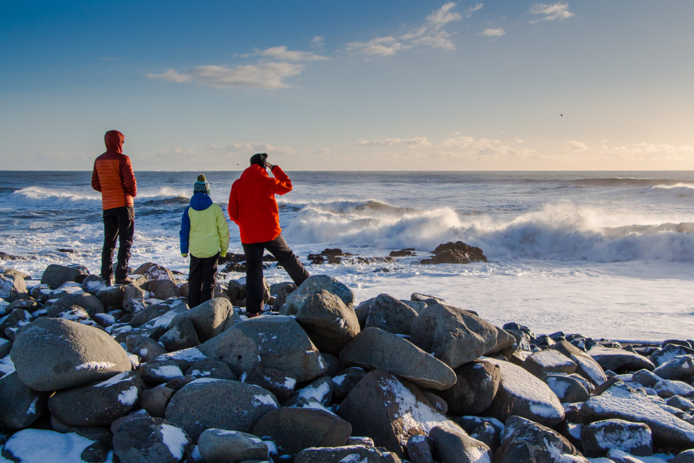 Family of three in winter gear stand on rocky snow dusted shoreline looking out to sea. Travelling with kids in Iceland.