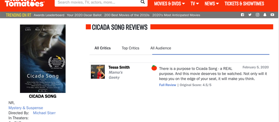 Cicada Song is FRESH on Rotten Tomatoes!  4.5/5 Stars.