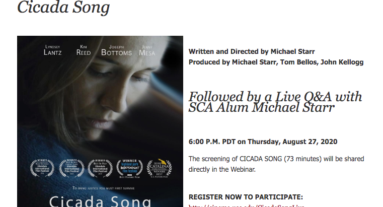 Q&A with Writer-Director, Michael Starr this Thursday (8/27) 6pm (PST)