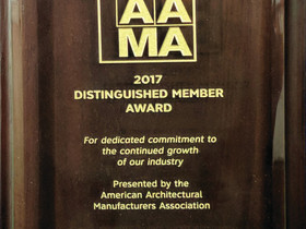 Crystal Windows receives AAMA Milestone Award - marks 25-year membership in association